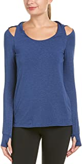Splendid Women's Studio Activewear Sports Workout Hooded Twist Shoulder Tunic, Marled