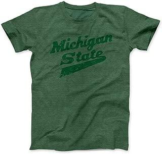 Nudge Printing Michigan State University Spartans MSU Hockey Script Logo Green on Green T-Shirt (Small)