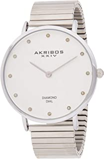 Akribos XXIV Diamond Classic Expansion Women's Stainless Steel Band Watch