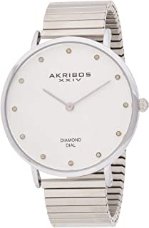 Akribos XXIV Diamond Classic Expansion Women's Stainless Steel Band Watch