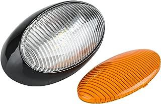 Lumitronics RV 12V LED Oval Porch Utility Light - Clear & Amber Lenses (Black)