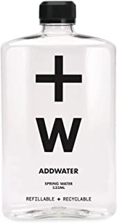 ADDWATER 100% Pure Australian Natural Spring Water in Recyclable Plastic Bottles | Refillable | 535ml Bottles | 12 Pack