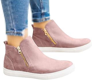 Padaleks Women's Comfortable Suede Slip On Flat Loafers Zipper Round Toe Walking Shoes Plus Size Booties Sneakers