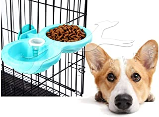 Pets Empire Pet Feeding Double Bowl Feeder Hanging Cat Dog Puppy Small Animal Food Dish Water Dinner Feeder Cage Bowl Auto...