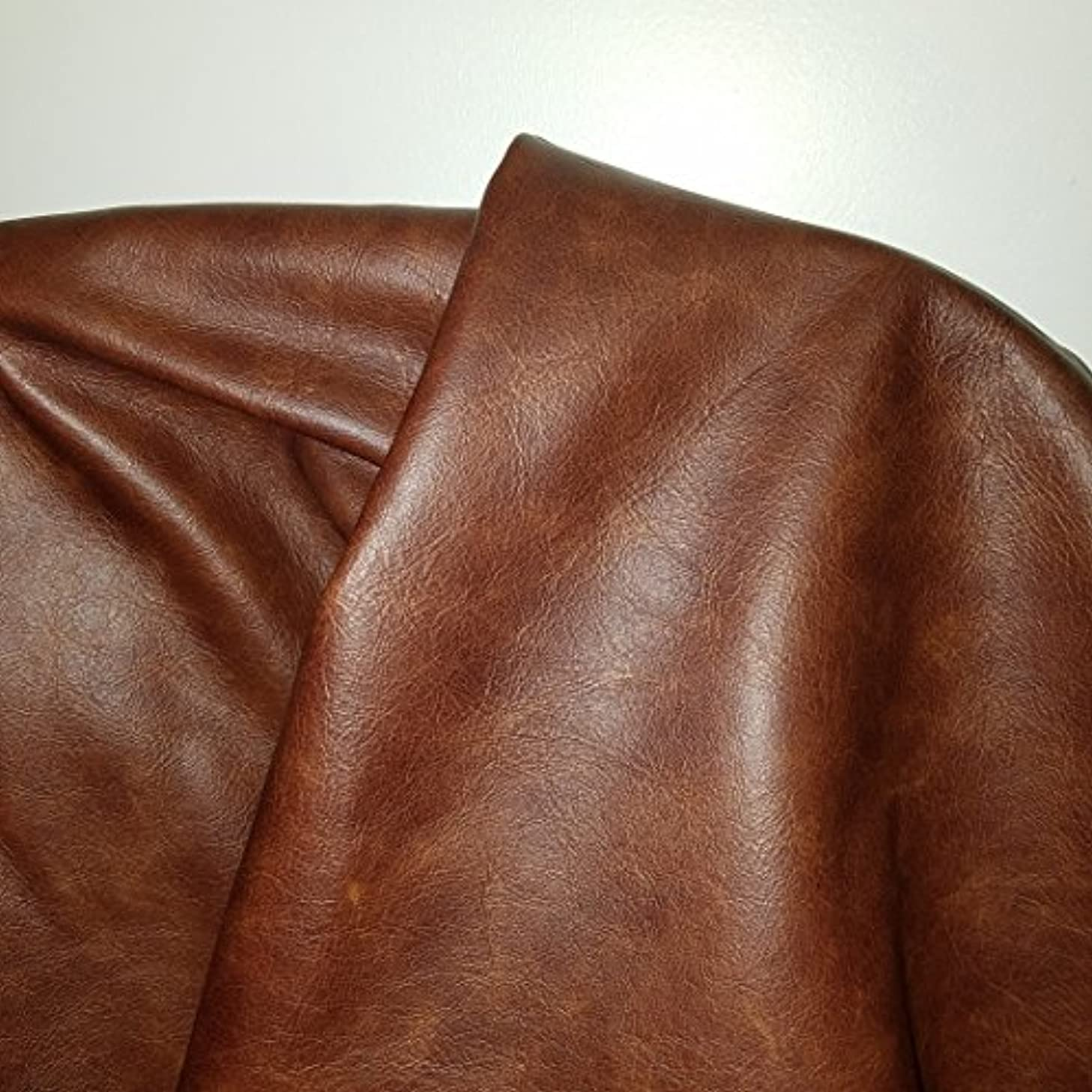 NAT Leathers Brown Cognac Weekender Two Tone Soft Upholstery Chap Cowhide Genuine Leather Hide Skin 1 Square Feet (12