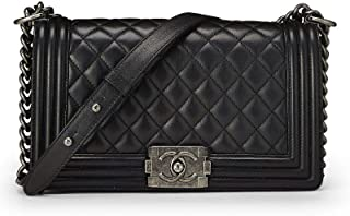 8e4e9e6587fa CHANEL Black Quilted Calfskin Boy Medium (Certified Refurbished)