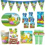 Nesloonp Set di Forniture per Feste Dinosauri 90 PCS Compleanno Party Stoviglie acchetto Set di stoviglie per Feste Tazza Piatti Tovaglioli Copritavolo Coppe Cannucce Striscioni