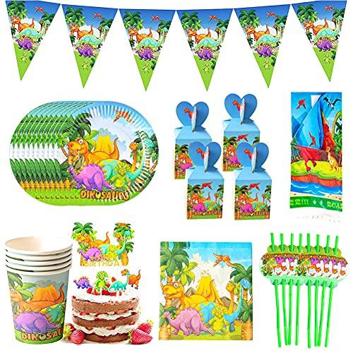 Decoracion Fiesta Dinosaurios Nesloonp90 piezas Platos y Vasos Cumpleaños Artículos para fiestas de dinosaurios para Decoraciones de Ducha de Cumpleaños para Niños