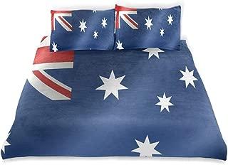 BEVRRY Australia Flag Kids Bedding Comforter Cover Sets Ultra Soft Crystal Velvet Cotton Satin Hotel Collection–Decorative 3 Piece Bedding Set with 2 Pillow Shams,Multicolor