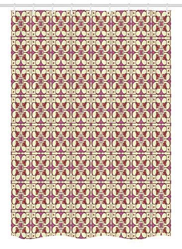 WH-CLA Cortina De Ducha Étnica,Cerámica Marroquí Tradicional Estilo Boho Mosaico Portugués Azulejos Arte Cortina De Baño Multifuncional para Club Deportivo Magenta Oscuro Amarillo Pálido,168X183Cm