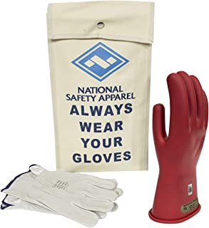 National Safety Apparel Class 00 Red Rubber Voltage Insulating Glove Kit with Leather Protectors, Max. Use Voltage 500V AC/ 750V DC (KITGC0008R)