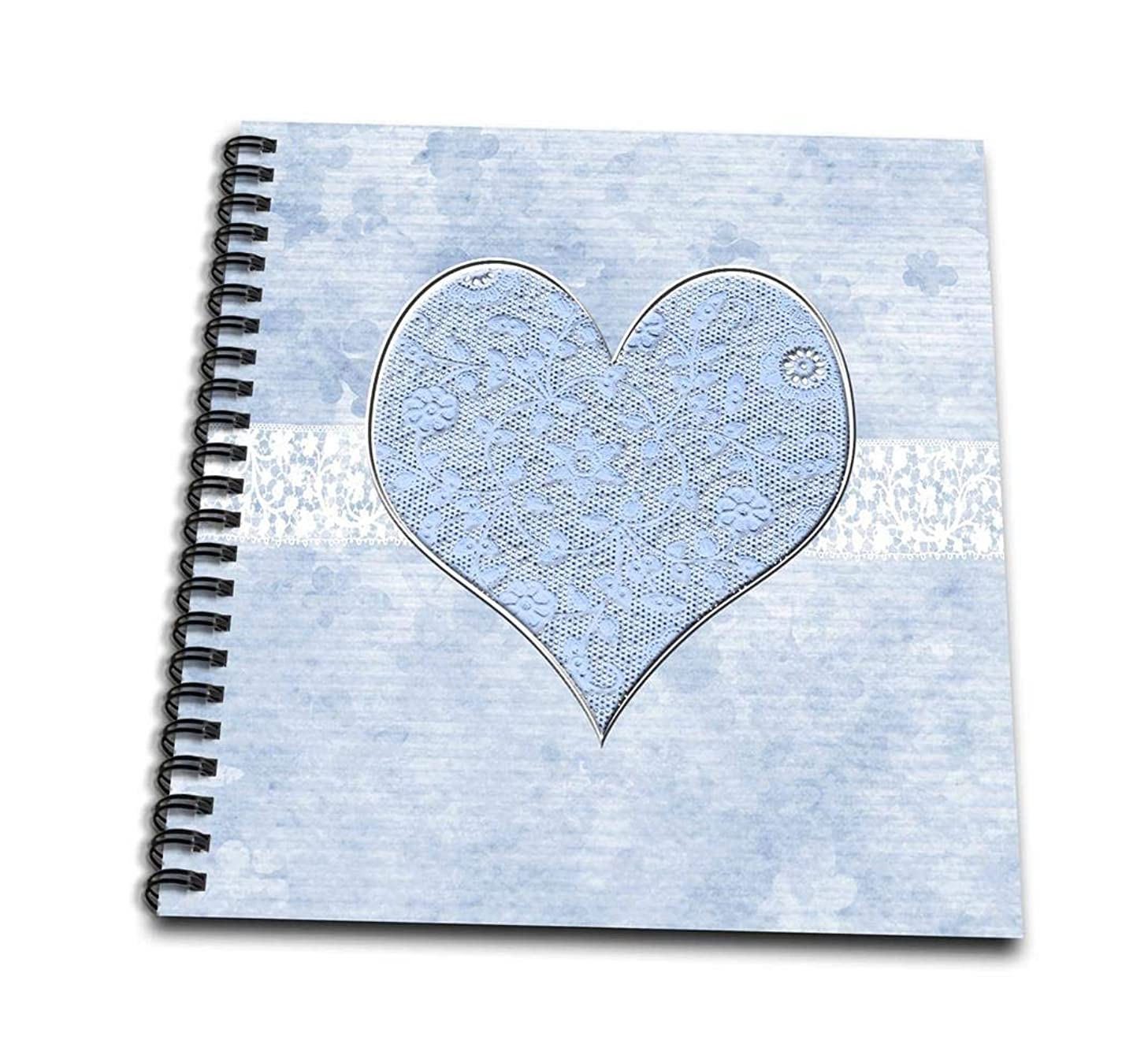 3dRose db_173126_2 Pastel Lace Blue Heart on Lace Ribbon & Flowers Memory Book, 12 by 12