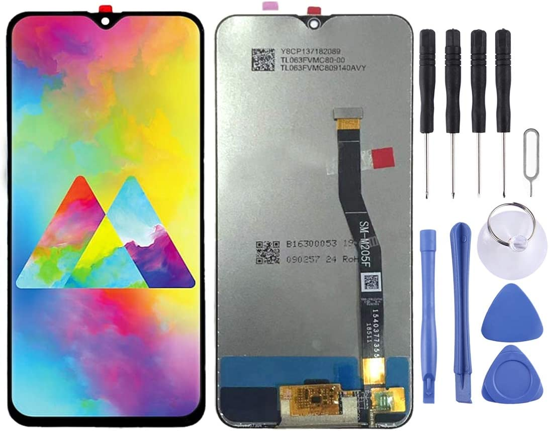 MOBILEACCESSORIES for jodnn dian TENGLIN LCD Screen and Digitizer Full Assembly for Galaxy M20 Color : Black Black