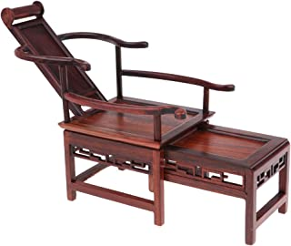 CUTICATE Dollhouse Furniture Miniatures - 1:6 Scale Rosewood Retractable Deck Chair, Great for Hot Toys Action Figures, for 1/6 BJD Dolls