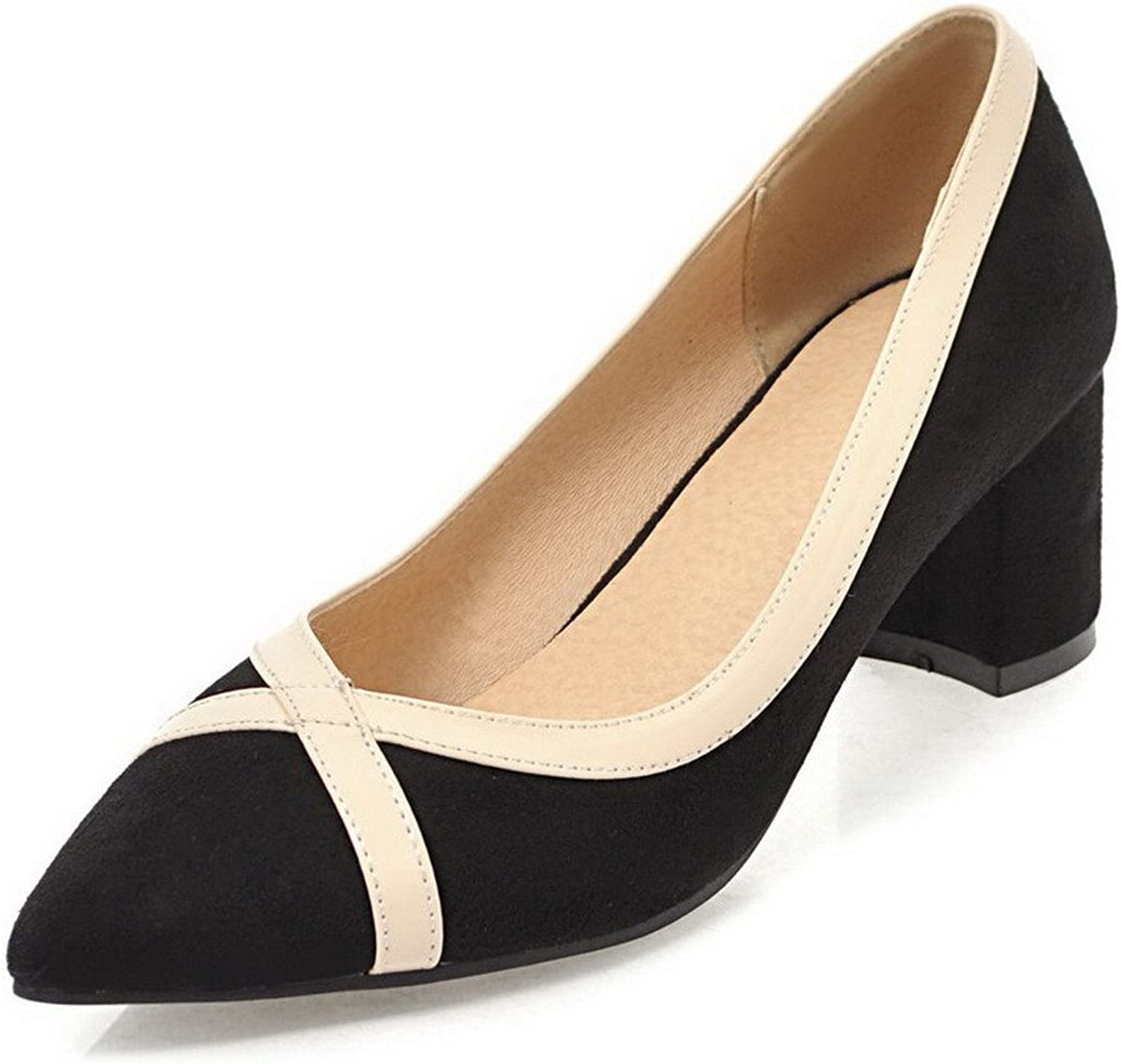 WeenFashion Women's Pu Pointed-Toe Kitten-Heels Pull-On Court shoes