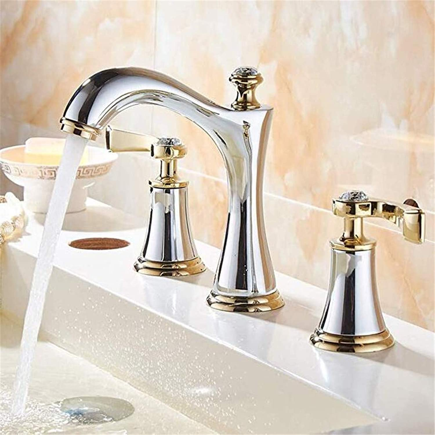 Oudan Taps Kitchen Faucetbathroom Sink Tapeuropean-Style Bathroom Basin Water Cooling and Hot Mixing Faucet Three-Hole Alloy Sink Faucet Split Faucet Set Multi-Functional Bathtub Faucet