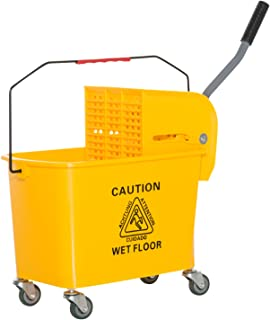 HOMCOM 5 Gallon Rolling Janitorial Cleaning Mop Bucket Commercial Restaurant with Down Press Wringer
