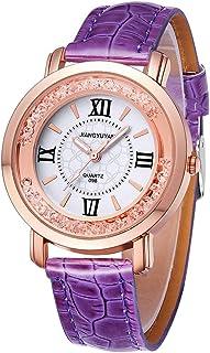 Smart Watch 1745 JIAYUYAN Fashion Women Quartz Wrist Watch with PU Leather Band and Alloy Watch Case(Black) (Color : Purple)