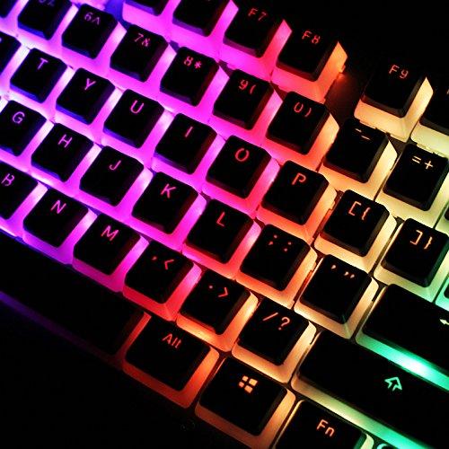 Faway Tastenkappen, 104 Tasten, PBT, OEM-Profil, doppelhäutig, milchig, durchscheinende Tastenkappen für mechanische Tastatur