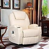 Homedex 360 Degree Swivel Massage Recliner Leather Sofa Chair Ergonomic Lounge Swivel Heated with Control (Cream)