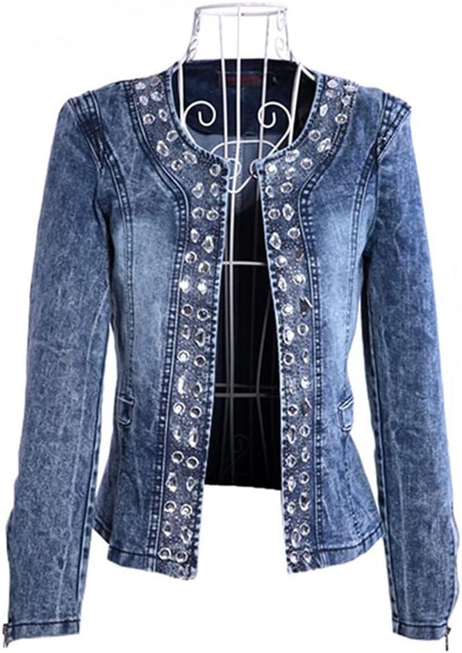 STRAW Elegant Denim Jackets Women Vintage Jeans Jacket Ladies Spring Autumn Outerwear Slim Casual Denim Coats Plus Size 4XL (Color : Blue, Size : M Code)