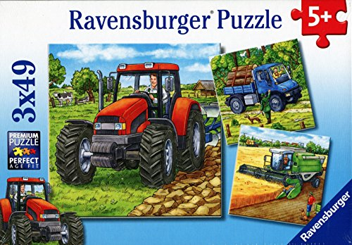 Ravensburger Kinderpuzzle 09388 - Große Landmaschinen - 3 x 49 Teile