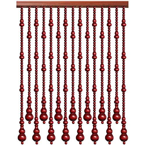 WERTYU Cortina De Cuentas Puerta Pantalla De Interior Al Aire Libre BalcóN Fondo HabitacióN Sala De Estar Colgante Woods Divisor De Cuerda con Colgante De Calabaza-41 hilos-120x188cm