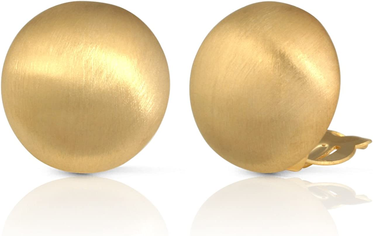 JanKuo Jewelry Matte Gold Round Clip On Earrings