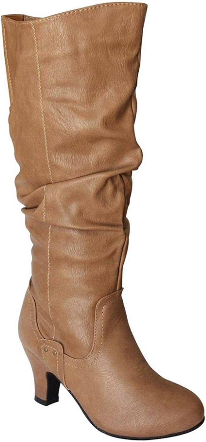 De Blossom Collection Brand-32W Women's Slouch Knee-High Wide Calf Boots