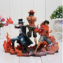 JHJUH Anime Sculpture 3 Pieces/Set of Anime One Piece Luffy Ace Sabo PVC Action Figure Collectible Model Toys