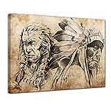 Wandbild Indianer VII, Tattoo Art - 80x60 cm Leinwandbilder