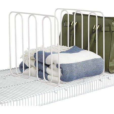 mDesign séparateur étagère (lot de 2) pour garde-robe – système aménagement placard pratique en métal – étagère séparation utile à monter sans perçage – blanc
