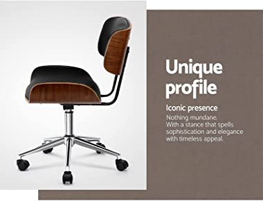 Artiss Executive Wooden Office Chair Faux Leather Padded Computer Home Work Seat Mid Back Black Adjustable Height Chrome Base