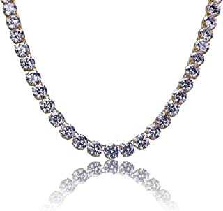 18K Gold Plated 1 Row 10MM Lab Simulated Diamond Iced Out Chain Men's Hiphop Tennis Necklace