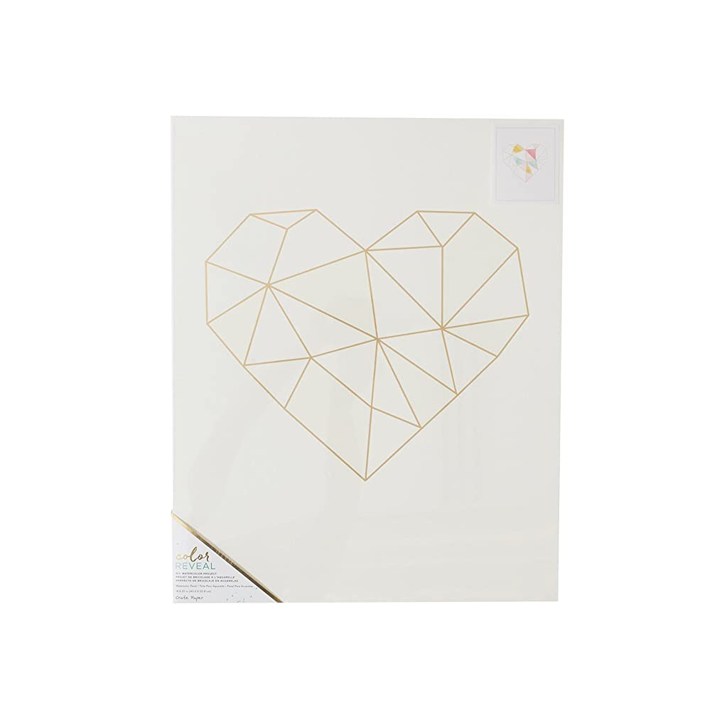 American Crafts Geo Crate Paper Watercolor Panel Color Reveal 16 x 20 Inch Geometric Heart