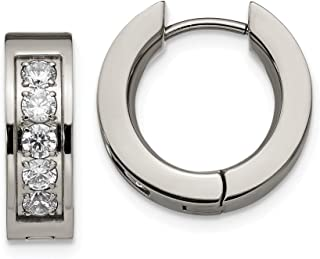 23mm x 23mm Mia Diamonds 925 Sterling Silver Solid Rhodium-Plated Cubic Zirconiain and Out Hinged Hoop Earrings