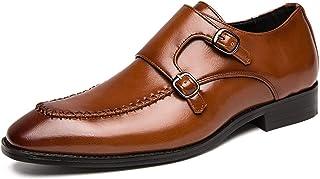 mdtep Loafer for Men Square Grembiule Toe Doppio Monaco Strap Block Block Heel in Pelle vegana Suola in Gomma Abbigliament...