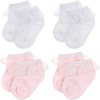 BQUBO Baby Girls Socks Infant Lace Sock Newborn Socks Eyelet Ankle Dress Sock