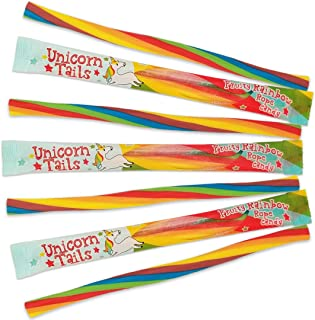 Unicorn Tails Licorice Candy Ropes - Soft & Chewy Rainbow Party Favors for Kids - Tangy filling