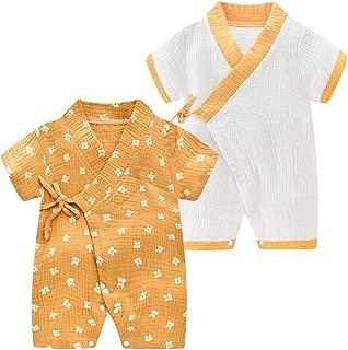 Newborn Baby Cotton Kimono Robe Romper One Piece Toddler Unisex Cute Short Sleeves Pajamas Sets