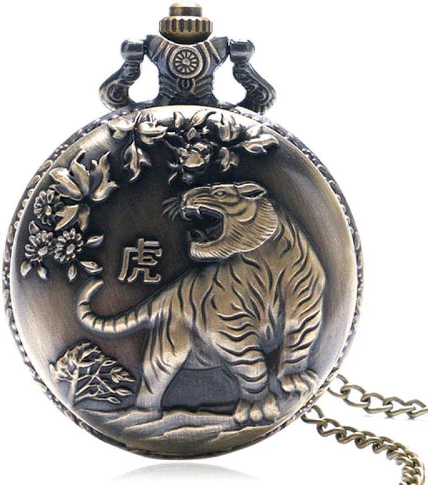 WYBD.Y Reloj de Bolsillo preciso Zodiaco Chino Antiguo Collar de Tigre Fresco Colgante Reloj de Bolsillo de Cuarzo de Bronce Regalo Retro Hombres Niño Mujer Niña