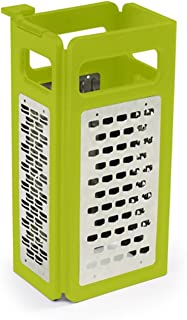 Joseph Joseph 20024 Fold Flat Grater 4 Blade Styles Stainless Steel Cheese Vegetable Slicer Zester Spices Space Saving Includes Plastic Case, 8-inch, Green
