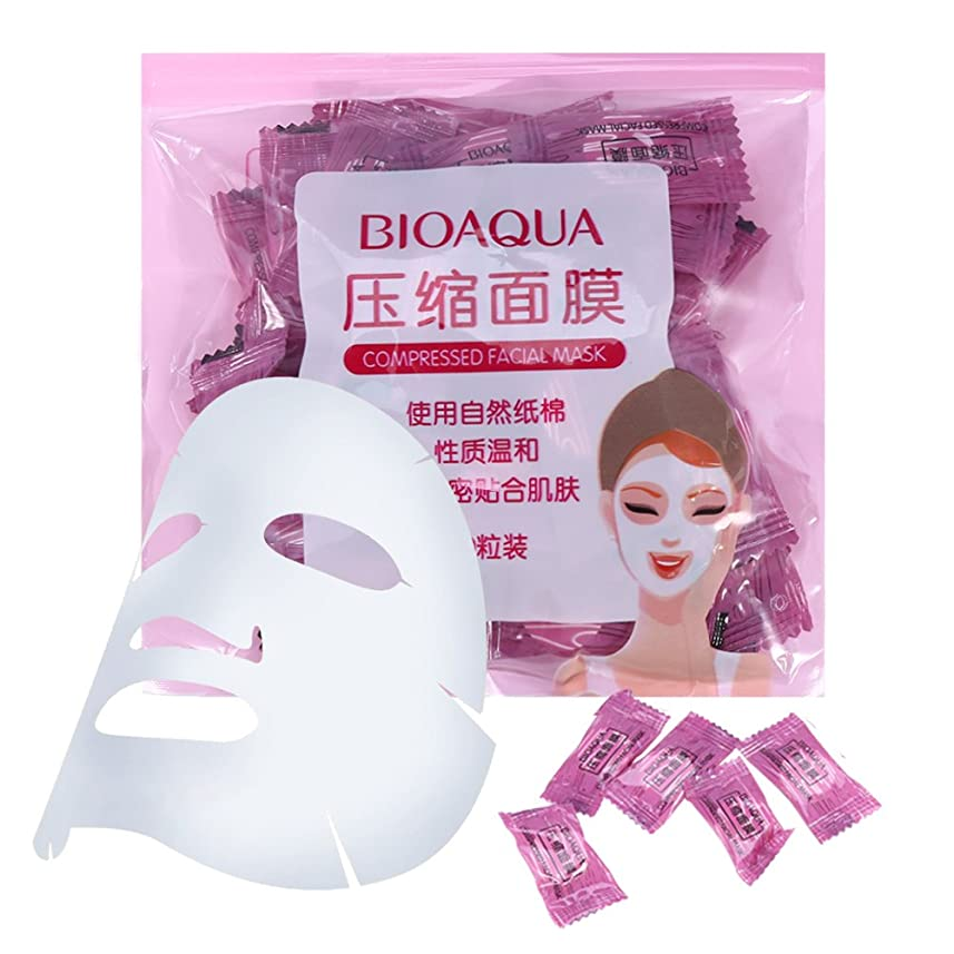 規則性調子生き残りスキンケア 50個/パックナチュラル 不織布 圧縮 フェイスマスク DIYフェイシャルマスク