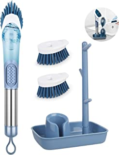 Soap Dispensing Dish Brush with Handle, ENSPOWAY Washing Up Brush Kitchen Scrubbing Brushes Set with Replaceable Bristle Brush Heads and Holder, Dish Cleaning Brushes for Pot Pan Sink