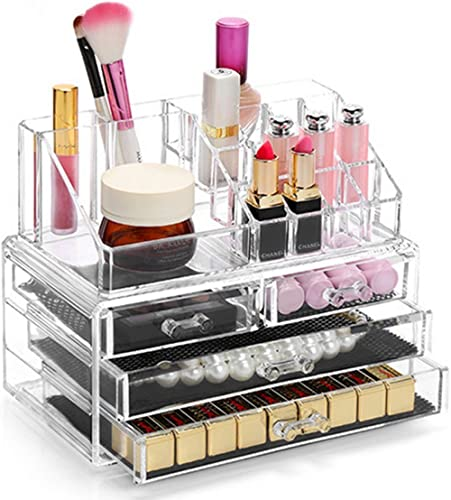 Display4top Organisateur Maquillage Acrylique Boîte à Bijoux Transparent Rangement de Maquillage Pinceaux 4 Tiers Tir...