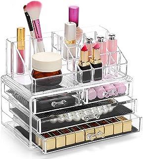 Display4top Organisateur Maquillage Acrylique Boîte à Bijoux Transparent Rangement de Maquillage Pinceaux 4 Tiers Tiroirs ...
