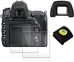 Camera Tempered Glass Screen Protector + Viewfinder Eyepiece Eye Cup Replacement + Hot Shoe Cover for Nikon D750 D610 D600, RENYD Professional Nikon Camera Accessories