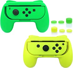 FASTSNAIL Grips for Nintendo Switch Joy-Con, Wear-Resistant Handle Kit for Switch Joy Cons Controller, 2 Pack (Green and Yellow)