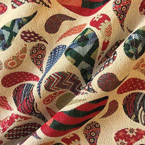 Tela por metros de tapicería - Jacquard Gobelino - Ancho 280 cm - Largo a elección de 50 en 50 cm | Cachemir - Rojo, naranja, verde, azul, beige
