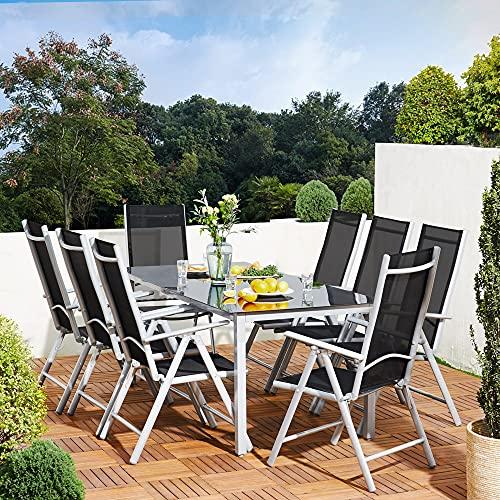 Deuba Sitzgruppe Bern 8+1 Aluminium 7-Fach verstellbare Hochlehner Stühle Tisch mit Sicherheitsglas Silber Garten Set - 2